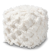 Baxton Studio Asuka Moroccan Inspired Ivory Handwoven Cotton Fringe Pouf Ottoman Baxton Studio restaurant furniture, hotel furniture, commercial furniture, wholesale living room furniture, wholesale ottoman, classic ottoman