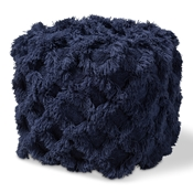 Baxton Studio Asuka Moroccan Inspired Navy Handwoven Cotton Fringe Pouf Ottoman Baxton Studio restaurant furniture, hotel furniture, commercial furniture, wholesale living room furniture, wholesale ottoman, classic ottoman