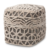 Baxton Studio Avery Moroccan Inspired Beige and Brown Handwoven Cotton Pouf Ottoman Baxton Studio restaurant furniture, hotel furniture, commercial furniture, wholesale living room furniture, wholesale ottoman, classic ottoman
