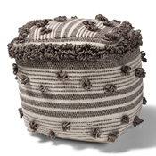 Baxton Studio Eligah Moroccan Inspired Ivory and Brown Handwoven Wool Pouf Ottoman Baxton Studio restaurant furniture, hotel furniture, commercial furniture, wholesale living room furniture, wholesale ottoman, classic ottoman