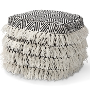 Baxton Studio Alain Moroccan Inspired Black and Ivory Handwoven Wool Tassel Pouf Ottoman Baxton Studio restaurant furniture, hotel furniture, commercial furniture, wholesale living room furniture, wholesale ottoman, classic ottoman