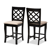 Baxton Studio Alora Modern and Contemporary Sand Fabric Upholstered Espresso Brown Finished Wood Counter Stool (Set of 2) Baxton Studio restaurant furniture, hotel furniture, commercial furniture, wholesale bar furniture, wholesale counter stools, classic counter stools
