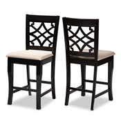 Baxton Studio Nisa Modern and Contemporary Sand Fabric Upholstered Espresso Brown Finished Wood Counter Stool (Set of 2) Baxton Studio restaurant furniture, hotel furniture, commercial furniture, wholesale bar furniture, wholesale counter stools, classic counter stools