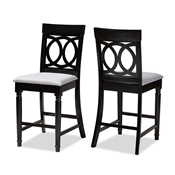 Baxton Studio Verina Modern and Contemporary Grey Fabric Upholstered Espresso Brown Finished Wood Counter Stool (Set of 2) Baxton Studio restaurant furniture, hotel furniture, commercial furniture, wholesale bar furniture, wholesale counter stools, classic counter stools