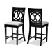 Baxton Studio Verina Modern and Contemporary Grey Fabric Upholstered Espresso Brown Finished Wood Counter Stool (Set of 2) - IERH323P-Grey/Dark Brown-PS