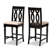 Baxton Studio Darcie Modern and Contemporary Sand Fabric Upholstered Espresso Brown Finished Wood Counter Stool (Set of 2) Baxton Studio restaurant furniture, hotel furniture, commercial furniture, wholesale bar furniture, wholesale counter stools, classic counter stools