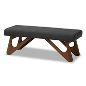 Baxton Studio Rika Mid-Century Modern Dark Grey Fabric Upholstered Walnut Brown Finished Boomerang Bench