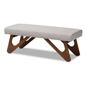 Baxton Studio Rika Mid-Century Modern Greyish Beige Fabric Upholstered Walnut Brown Finished Boomerang Bench