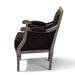 Baxton Studio Georgette Classic and Traditional French Inspired Brown Velvet Upholstered Grey Finished Armchair with Goldleaf Detailing - IEASS1103-CC
