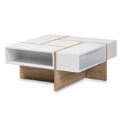 Baxton Studio Rasa Modern and Contemporary Two-Tone White and Oak Finished Wood Coffee Table Baxton Studio restaurant furniture, hotel furniture, commercial furniture, wholesale living room furniture, wholesale coffee table, classic coffee table