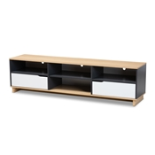 Baxton Studio Reed Mid-Century Modern Multicolor 2-Drawer Wood TV Stand Baxton Studio restaurant furniture, hotel furniture, commercial furniture, wholesale living room furniture, wholesale tv stand, classic tv stand
