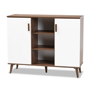 Baxton Studio Quinn Mid-Century Modern Two-Tone White and Walnut Finished 2-Door Wood Dining Room Sideboard Baxton Studio restaurant furniture, hotel furniture, commercial furniture, wholesale dining room furniture, wholesale sideboard, classic sideboard