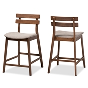 Baxton Studio Larine Modern and Contemporary Light Grey Fabric Upholstered Walnut Finished 2-Piece Wood Counter Stool Set Baxton Studio restaurant furniture, hotel furniture, commercial furniture, wholesale bar furniture, wholesale counter stools, classic counter stools