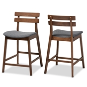 Baxton Studio Larine Modern and Contemporary Dark Grey Fabric Upholstered Walnut Finished 2-Piece Wood Counter Stool Set Baxton Studio restaurant furniture, hotel furniture, commercial furniture, wholesale bar furniture, wholesale counter stools, classic counter stools