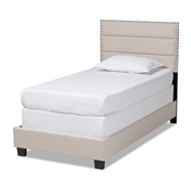 Baxton Studio Ansa Modern and Contemporary Beige Fabric Upholstered Twin Size Bed Baxton Studio restaurant furniture, hotel furniture, commercial furniture, wholesale bedroom furniture, wholesale twin, classic twin