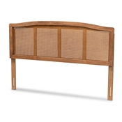 Baxton Studio Marieke Mid-Century Modern Ash Wanut Finished Wood and Synthetic Rattan Full Size Headboard Baxton Studio restaurant furniture, hotel furniture, commercial furniture, wholesale bedroom furniture, wholesale full, classic full
