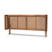 Baxton Studio Rina Mid-Century Modern Ash Wanut Finished Wood and Synthetic Rattan Full Size Wrap-Around Headboard Baxton Studio restaurant furniture, hotel furniture, commercial furniture, wholesale bedroom furniture, wholesale full, classic full