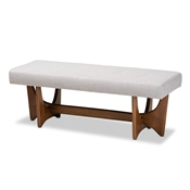 Baxton Studio Theo Mid-Century Modern Greyish Beige Fabric Upholstered Walnut Finished Bench