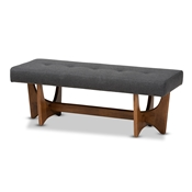 Baxton Studio Theo Mid-Century Modern Dark Grey Fabric Upholstered Walnut Finished Bench