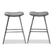 Baxton Studio Jette Modern and Contemporary Grey Fabric Upholstered Dark Grey Metal 2-Piece Bar Stool Set - IE8717B-Grey/Black-BS