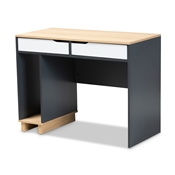 Baxton Studio Reed Mid-Century Modern 2-Drawer Multicolor Wood Computer Desk Baxton Studio restaurant furniture, hotel furniture, commercial furniture, wholesale home office furniture, wholesale desk, classic desk