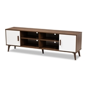 Baxton Studio Quinn Mid-Century Modern Two-Tone White and Walnut Finished 2-Door Wood TV Stand Baxton Studio restaurant furniture, hotel furniture, commercial furniture, wholesale living room furniture, wholesale tv stand, classic tv stand