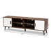 Baxton Studio Quinn Mid-Century Modern Two-Tone White and Walnut Finished 2-Door Wood TV Stand - IETV8003-Columbia Walnut/White-TV