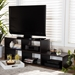 Baxton Studio Andor Modern and Contemporary Dark Brown Finished Adjustable 2-Piece Wood TV Stand - IETV8000-Wenge-TV