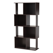 Baxton Studio Riva Modern and Contemporary Dark Brown Finished Geometric Wood Bookshelf Baxton Studio restaurant furniture, hotel furniture, commercial furniture, wholesale living room furniture, wholesale bookcase, classic bookcase