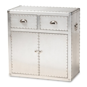 Baxton Studio Serge French Industrial Silver Metal 2-Door Accent Storage Cabinet Baxton Studio restaurant furniture, hotel furniture, commercial furniture, wholesale living room furniture, wholesale storage trunk, classic storage cabinet