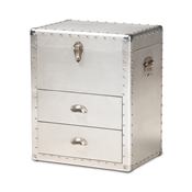 Baxton Studio Serge French Industrial Silver Metal 2-Drawer Accent Storage Chest Baxton Studio restaurant furniture, hotel furniture, commercial furniture, wholesale living room furniture, wholesale storage trunk, classic storage cabinet