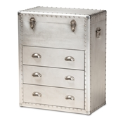 Baxton Studio Serge French Industrial Silver Metal 3-Drawer Accent Storage Chest Baxton Studio restaurant furniture, hotel furniture, commercial furniture, wholesale living room furniture, wholesale storage trunk, classic storage cabinet
