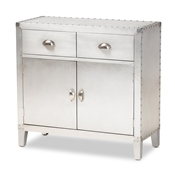 Baxton Studio Romain French Industrial Silver Metal 2-Door Accent Storage Cabinet Baxton Studio restaurant furniture, hotel furniture, commercial furniture, wholesale living room furniture, wholesale storage trunk, classic storage cabinet