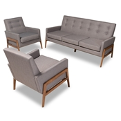 Baxton Studio Perris Mid-Century Modern Light Grey Fabric Upholstered Walnut Finished Wood 3-Piece Living Room Set Baxton Studio restaurant furniture, hotel furniture, commercial furniture, wholesale living room furniture, wholesale sofa sets, classic sofa sets