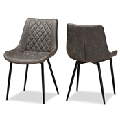 Baxton Studio Loire Modern and Contemporary Grey and Brown Faux Leather Upholstered Black Finished 2-Piece Dining Chair Set Baxton Studio restaurant furniture, hotel furniture, commercial furniture, wholesale dining room furniture, wholesale dining chairs, classic dining chairs