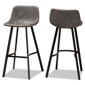 Baxton Studio Tani Rustic Industrial Grey and Brown Faux Leather Upholstered Black Finished 2-Piece Metal Bar Stool Set Baxton Studio restaurant furniture, hotel furniture, commercial furniture, wholesale bar furniture, wholesale counter stools, classic counter stools