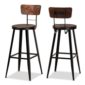 Baxton Studio Kenna Vintage Rustic Industrial Wood and Black Metal Finished 2-Piece Metal Bar Stool Set