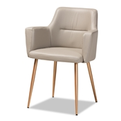 Baxton Studio Martine Glam and Luxe Beige Faux Leather Upholstered Gold Finished Metal Dining Chair Baxton Studio restaurant furniture, hotel furniture, commercial furniture, wholesale dining room furniture, wholesale dining chairs, classic dining chairs