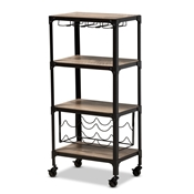 Baxton Studio Swanson Rustic Industrial Style Antique Black Textured Metal Distressed Oak Finished Wood Mobile Kitchen Bar Wine Cart Baxton Studio restaurant furniture, hotel furniture, commercial furniture, wholesale dining room furniture, wholesale wine cabinet, classic wine cabinet