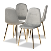 Baxton Studio Elyse Glam and Luxe Grey Velvet Fabric Upholstered Gold Finished 4-Piece Metal Dining Chair Set Baxton Studio restaurant furniture, hotel furniture, commercial furniture, wholesale dining room furniture, wholesale dining chairs, classic dining chairs