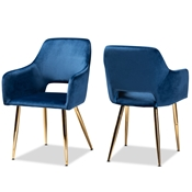 Baxton Studio Germaine Glam and Luxe Navy Blue Velvet Fabric Upholstered Gold Finished 2-Piece Metal Dining Chair Set Baxton Studio restaurant furniture, hotel furniture, commercial furniture, wholesale dining room furniture, wholesale dining chairs, classic dining chairs