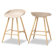 Baxton Studio Mairi Modern and Contemporary Beige Plastic and Wood Finished 2-Piece Counter Stool Set Baxton Studio restaurant furniture, hotel furniture, commercial furniture, wholesale bar furniture, wholesale counter stools, classic counter stools