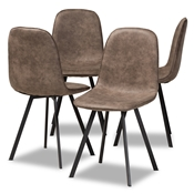 Baxton Studio Filicia Modern and Contemporary Grey and Brown Imitation Leather Upholstered 4-Piece Metal Dining Chair Set Baxton Studio restaurant furniture, hotel furniture, commercial furniture, wholesale dining room furniture, wholesale dining chairs, classic dining chairs