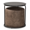 Baxton Studio Kira Modern and Contemporary Black with Grey and Brown 2-Piece Nesting Table and Ottoman Set Baxton Studio restaurant furniture, hotel furniture, commercial furniture, wholesale living room furniture, wholesale end table, classic end table