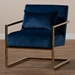 Baxton Studio Mira Glam and Luxe Navy Blue Velvet Fabric Upholstered Gold Finished Metal Lounge Chair - IETSF-60458-Navy Velvet/Gold-CC