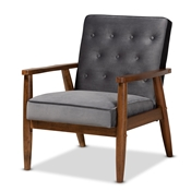 Baxton Studio Sorrento Mid-century Modern Grey Velvet Fabric Upholstered Walnut Finished Wooden Lounge Chair Baxton Studio restaurant furniture, hotel furniture, commercial furniture, wholesale living room furniture, wholesale accent chair, classic accent chair