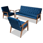 Baxton Studio Sorrento Mid-century Modern Navy Blue Velvet Fabric Upholstered Walnut Finished 3-Piece Wooden Living Room Set Baxton Studio restaurant furniture, hotel furniture, commercial furniture, wholesale living room furniture, wholesale sofa sets, classic sofa sets