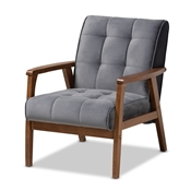 Baxton Studio Asta Mid-Century Modern Grey Velvet Fabric Upholstered Walnut Finished Wood Armchair Baxton Studio restaurant furniture, hotel furniture, commercial furniture, wholesale living room furniture, wholesale accent chair, classic accent chair