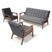 Baxton Studio Asta Mid-Century Modern Grey Velvet Fabric Upholstered Walnut Finished Wood 3-Piece Living Room Set Baxton Studio restaurant furniture, hotel furniture, commercial furniture, wholesale living room furniture, wholesale sofa sets, classic sofa sets
