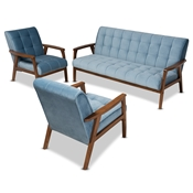 Baxton Studio Asta Mid-Century Modern Light Blue Velvet Fabric Upholstered Walnut Finished Wood 3-Piece Living Room Set Baxton Studio restaurant furniture, hotel furniture, commercial furniture, wholesale living room furniture, wholesale sofa sets, classic sofa sets